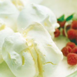 Little Lemon Meringues with Clotted Cream and Raspberries