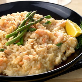 Prawn and Hot-Smoked Salmon Risotto with Asparagus