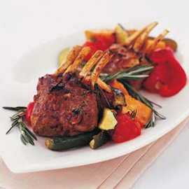 Spicy Rack of Lamb with Roasted Vegetables