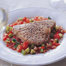Peppered Tuna Steak with Gazpacho Salsa