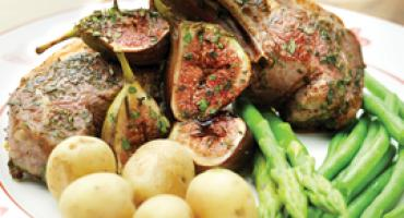 Lamb Chops with Fresh Herbs and Roasted Figs Green Beans Asparagus and New Potatoes