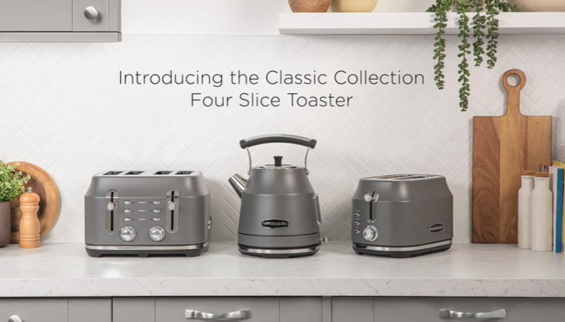 Rangemaster Classic Collection 4 Slice Toaster in Cream, Grey and Black